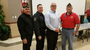 Norm Burgess, member of Post 178 and a COP trainee, Chad LaPreill, Frisco Police Officer, Steve Care, citizen of Frisco and a member of COP, Carlos Gallardo, Commander Post 178