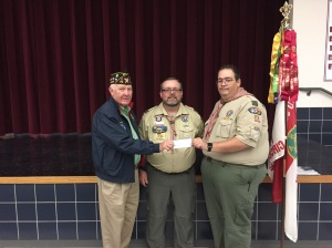 "Post Commander Fred Rogers presents Donation to the Troop 22 ""Marta V. Balboa-Griffith Memorial Scholarship"" fund."