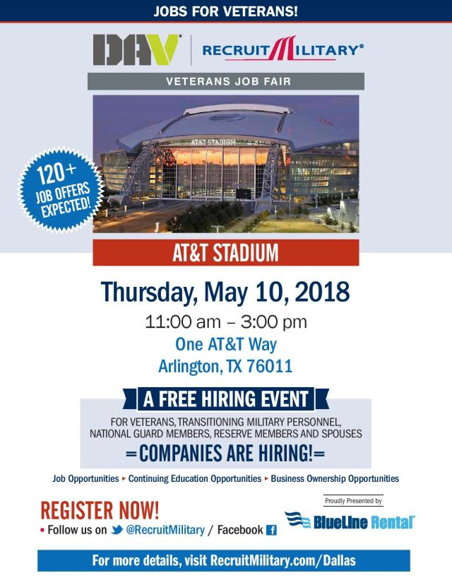 DAV/RecruitMilitary Veterans Job Fair May 10, 2018