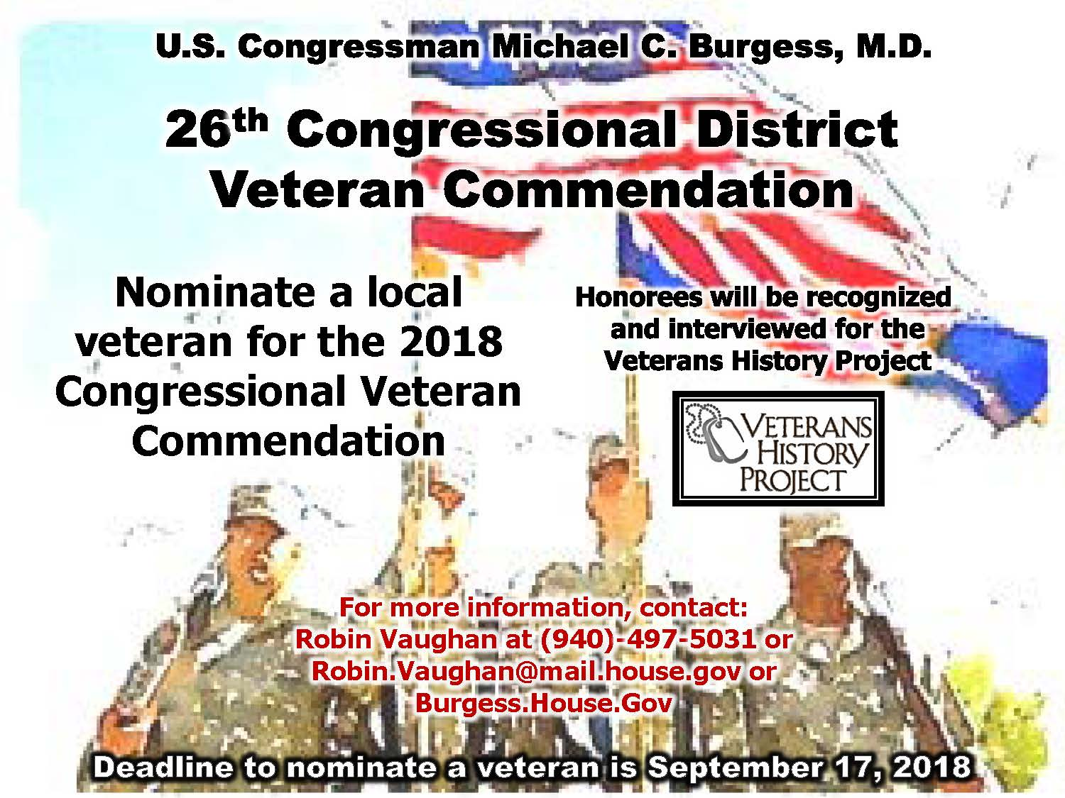 26th Congressional District Veteran Commendation Nominations NOW OPEN