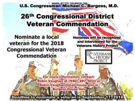 26th Congressional District Veteran Commendation Flyer 2018