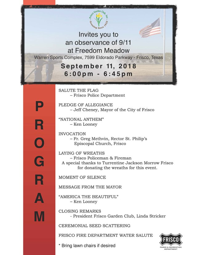 September 11 2018 Remembrance Ceremony Flyer